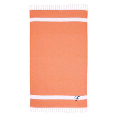 Linum Home Personalized Orange Diamond Pestemal -Script