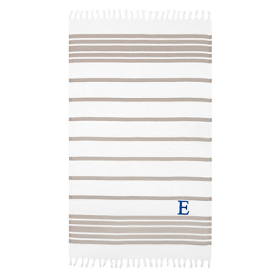 Linum Home Personalized Beige and White Herringbone Pestemal