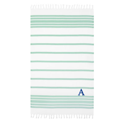 Linum Home Personalized Soft Aqua and White Herringbone Pestemal