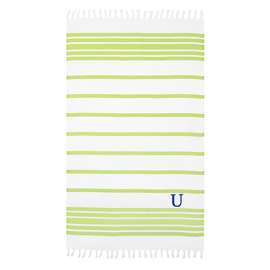 Linum Home Personalized Pistachio & White Herringbone Pestemal
