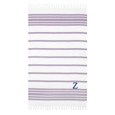 Linum Home Personalized Lilac & White HerringbonePestemal