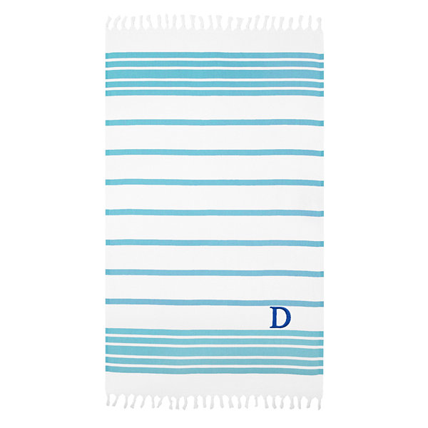 Linum Home Personalized Turquoise & White Herringbone Pestemal