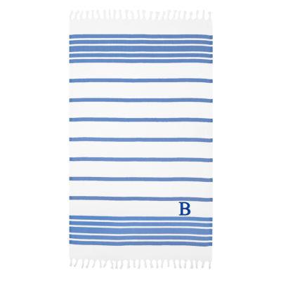 Linum Home Personalized Royal Blue & White Herringbone Pestemal