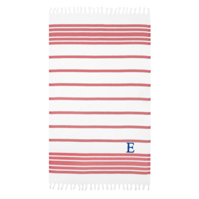 Linum Home Personalized Red & White Herringbone Pestemal
