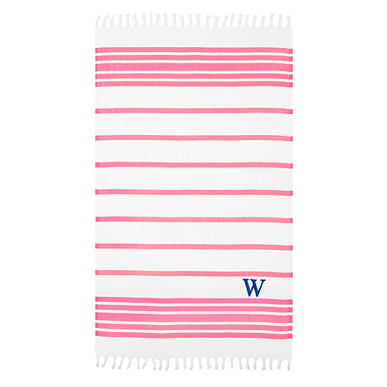 Linum Home Personalized Pink White Herringbone Pestemal
