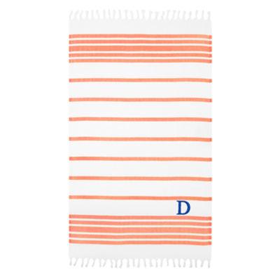 Linum Home Personalized Orange & White HerringbonePestemal