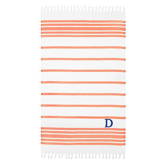 Linum Home Personalized Orange & White Herringbone Pestemal