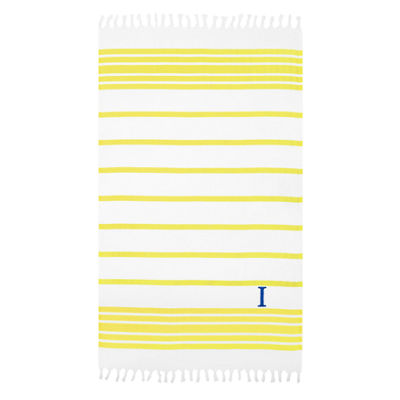Linum Home Personalized Yellow & White HerringbonePestemal