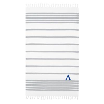 Linum Home Personalized Grey & White Herringbone Pestemal