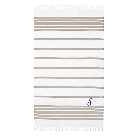 Linum Home Personalized Beige White Herringbonepestemal Script