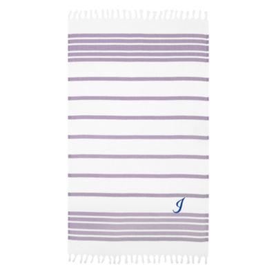 Linum Home Personalized Lilac & White HerringbonePestemal -Script