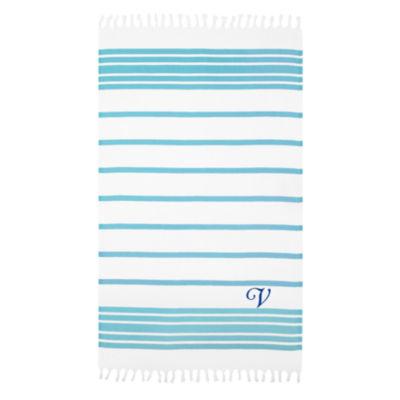 Linum Home Personalized Turquoise & White Herringbone Pestemal - Script