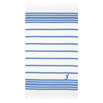 Linum Home Personalized Royal Blue & White Herringbone Pestemal