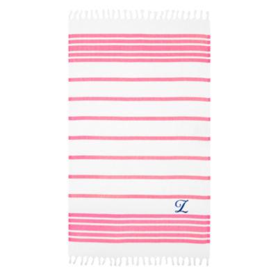 Linum Home Personalized Pink & White Herringbone Pestemal - Script