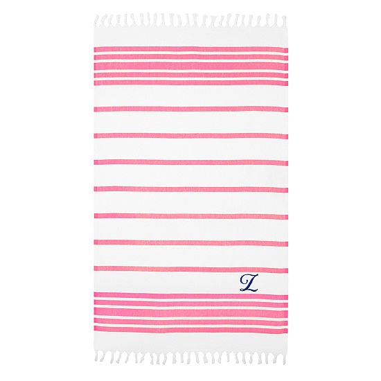 Linum Home Personalized Pink & White Herringbone Pestemal - Script