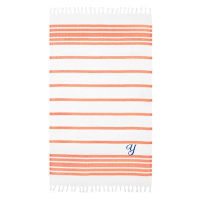 Linum Home Personalized Orange & White HerringbonePestemal -Script