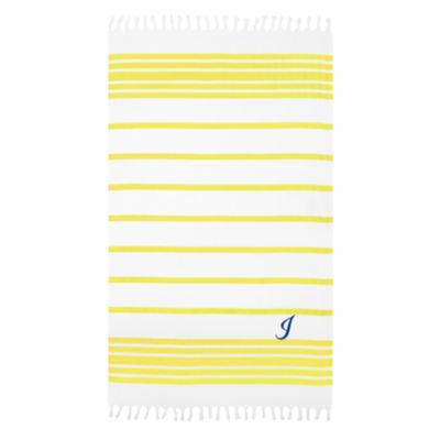 Linum Home Personalized Yellow & White HerringbonePestemal