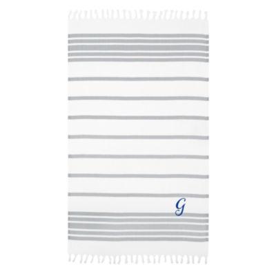 Linum Home Personalized Grey & White Herringbone Pestemal - Script
