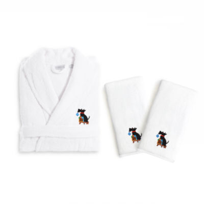 Linum Home Embroidered Luxury 100% Turkish CottonHand TowelsAnd Terry Bathrobe Set - Christmas Dog