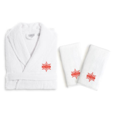 Linum Home Embroidered Luxury 100% Turkish CottonHand TowelsAnd Terry Bathrobe Set - Merry Christmas