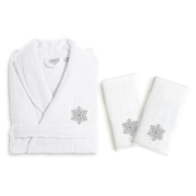 Linum Home Embroidered Luxury 100% Turkish CottonHand TowelsAnd Terry Bathrobe Set - Grey Snow Flake