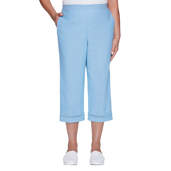 Alfred Dunner Womens Short Pant Clean Front Back Elastic Side Pockets