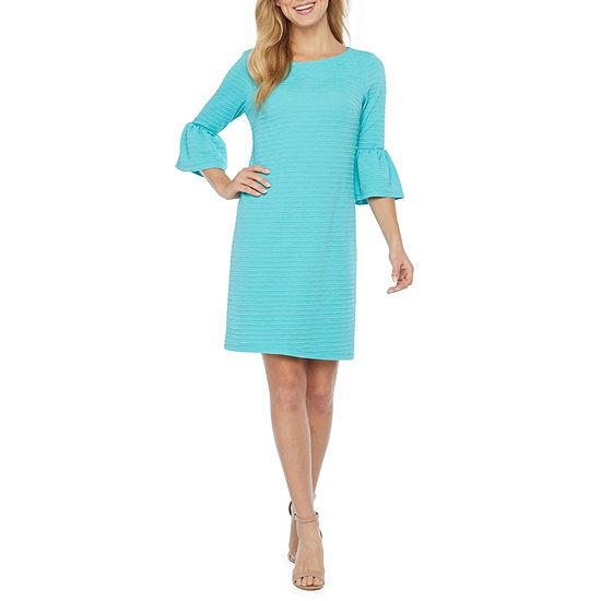 R & K Originals 3/4 Bell Sleeve Shift Dress