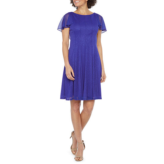 J Taylor Short Sleeve Fit & Flare Dress