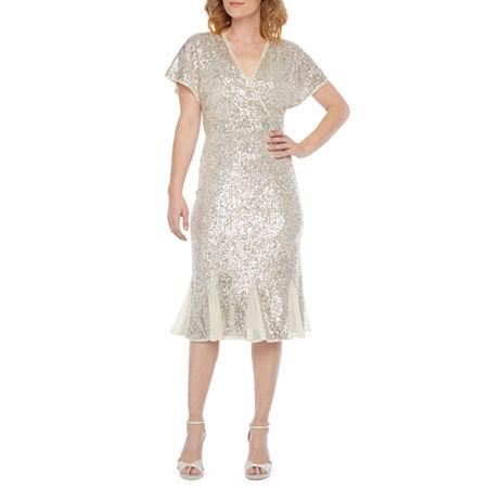 1940s Style Clothing & 40s Fashion R  M Richards Short Sleeve Sequin Sheath Dress 6  Beige $35.99 AT vintagedancer.com