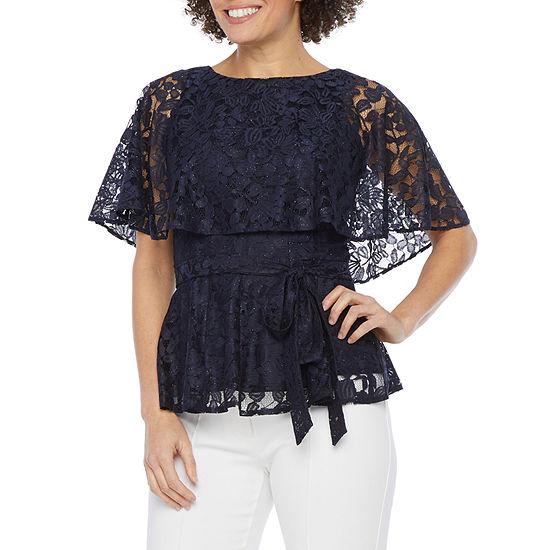 J Taylor Womens Short Sleeve Lace Cape Blouse