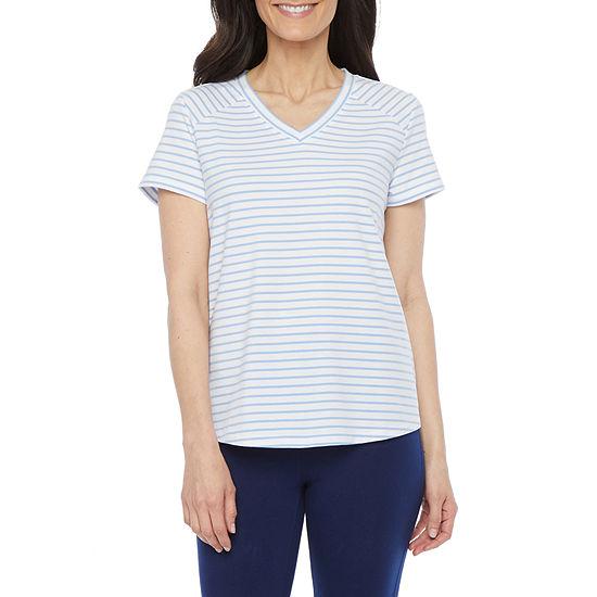 St. John's Bay Petite-Womens V Neck Short Sleeve T-Shirt