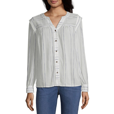 a.n.a Womens Split crew Neck Long Sleeve Peasant Top, X-small , White