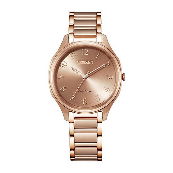 Citizen Drive Womens Rose Goldtone Stainless Steel Bracelet Watch - Em0758-58x
