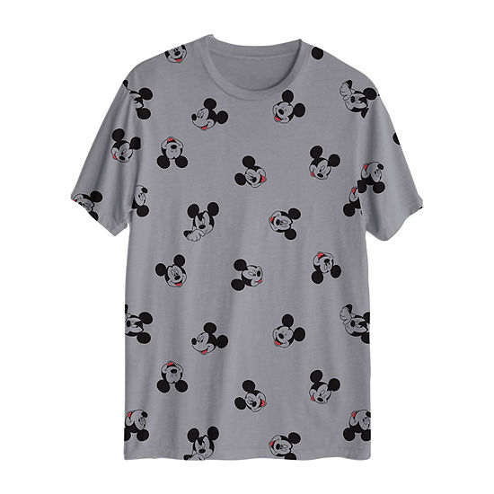 Mens Crew Neck Short Sleeve Mickey Mouse Graphic T-Shirt