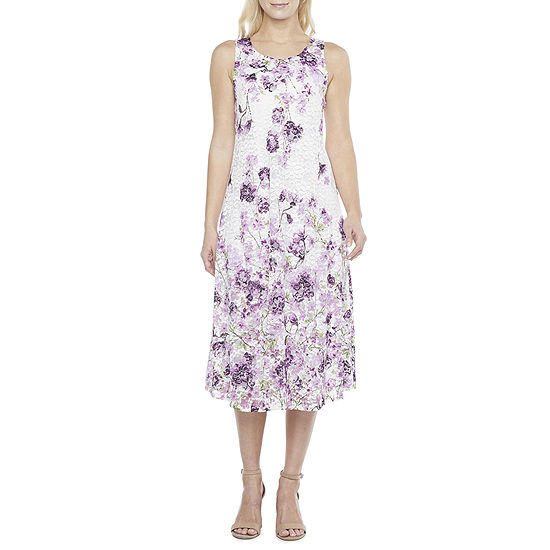 Robbie Bee Sleeveless Floral Lace Midi Fit & Flare Dress