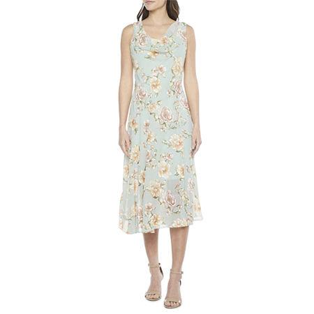 1930s Dresses | 30s Art Deco Dress Robbie Bee Sleeveless Floral Midi Fit  Flare Dress 14  Green $32.24 AT vintagedancer.com