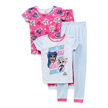 Little & Big Girls 4-pc. LOL Pajama Set, 4 , Pink