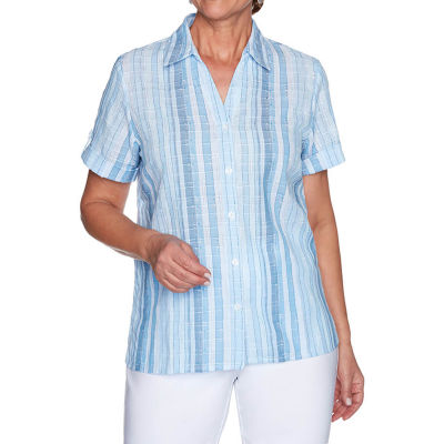 Alfred Dunner Classics Womens Short Sleeve Blouse