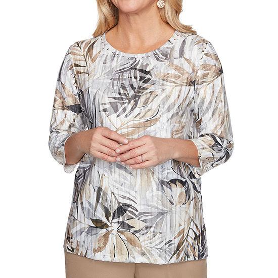 Alfred Dunner Classics Womens Crew Neck 3/4 Sleeve T-Shirt