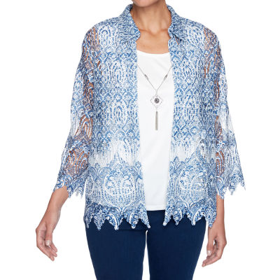 Alfred Dunner Denim Friendly Womens Round Neck 3/4 Sleeve Layered Top