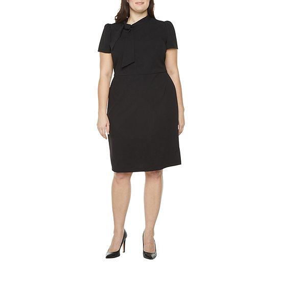 Liz Claiborne Womens Bow Crepe Sheath Dress - Plus