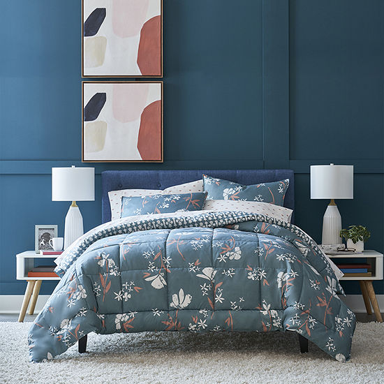 Thread Trade Co Green Floral Floral Lightweight Reversible Comforter Set