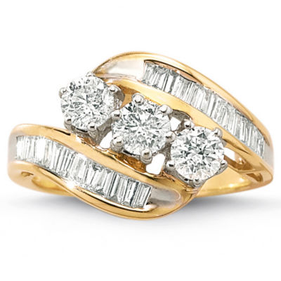 Love Lives Forever™ 1½ CT. T.W. Genuine Diamond 10K Gold 3-Stone Ring