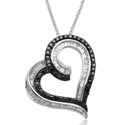 1/2 CT. T.W. White and Color-Enhanced Black Diamond Heart Pendant Necklace
