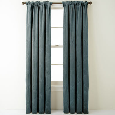 Bliss Velvet Embroidered Back-Tab Curtain Panel
