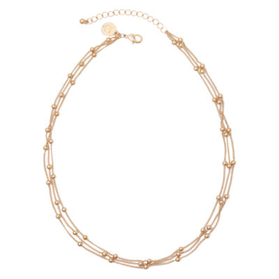 Liz Claiborne® Gold-Tone 3-Strand Ball Necklace