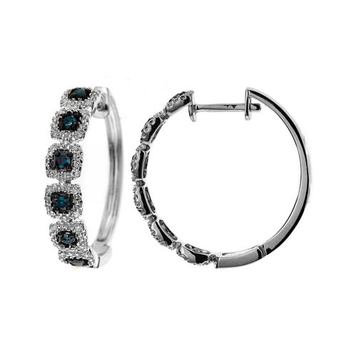LIMITED QUANTITIES 1/3 CT. T.W. White and Color-Enhanced Blue Diamond Hoop Earrings