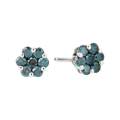 LIMITED QUANTITIES 3/4 CT. T.W. Color-Enhanced Blue Diamond Flower Stud Earrings