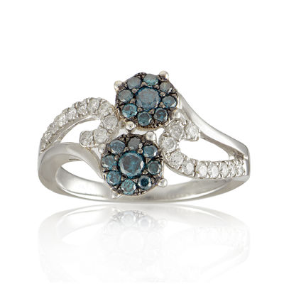 LIMITED QUANTITIES 3/4 CT. T.W. White and Color-Enhanced Blue Diamond Double Flower Ring
