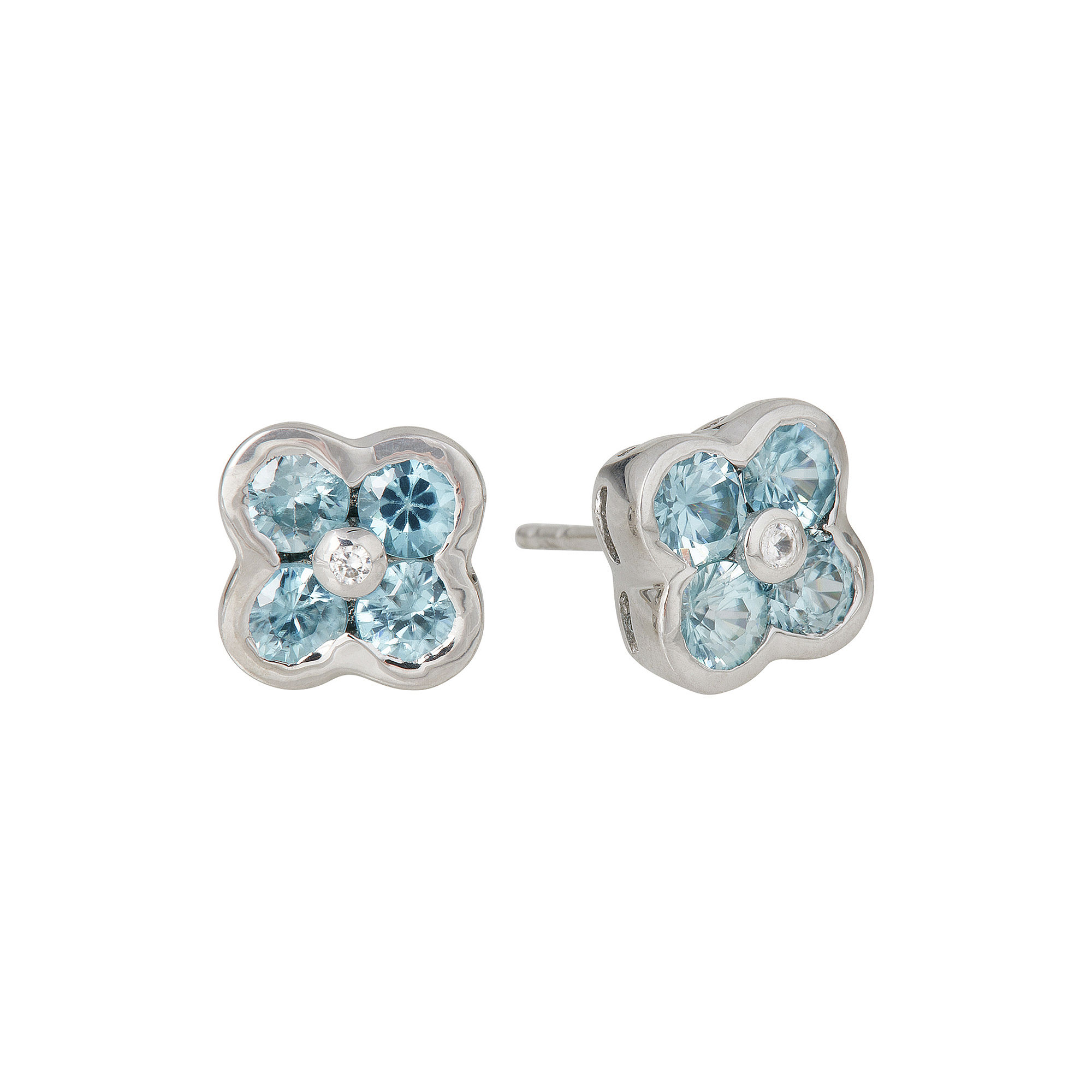 LIMITED QUANTITIES Genuine Blue Zircon Flower Stud Earrings